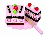 Wooden Chocolate & Strawberry Cake with Pretty Plate and Play Knife