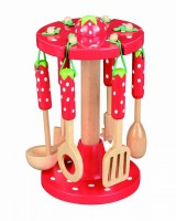 Strawberry Design - Wooden Kitchen Tools & Stand