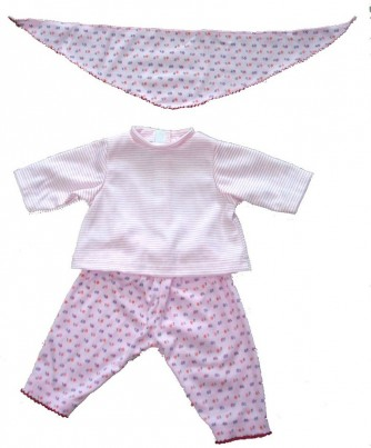 Trousers, Shirt & Scarf Set - Pink