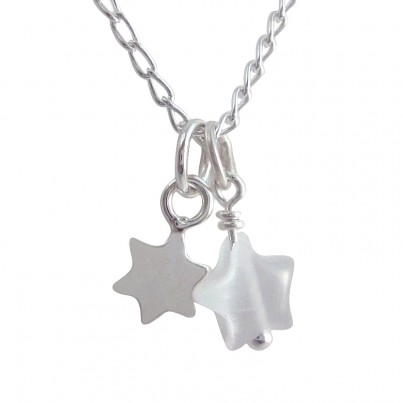 Childrens Tiny Star Necklace in White