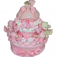 Luxury Baby Girl or Boy 3 Tier Nappy Cake in 0-3 or 3-6 months
