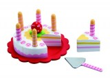 Wooden Layer Cake with Pretty Cake Plate, Cake Slice & 6 Candles