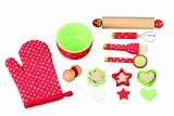 16 Piece Wooden Baking Set With Mixing Bowl, Eggs, Whisk and Much More