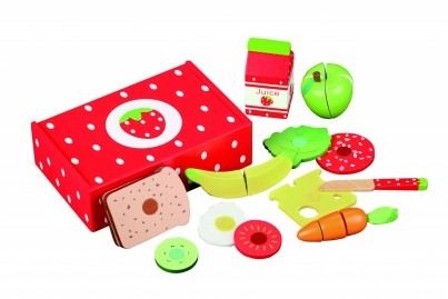 Strawberry Design - Lunch Box Of Wooden Food, Fruit, Veg, Bread