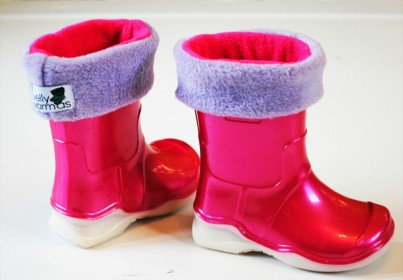 Childrens cerise and lilac welly warmas