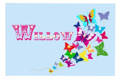 Butterflies - Blue - Personalised Illuminated Canvas