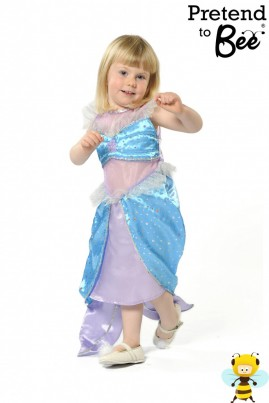 Under the Sea...  Our Mermaid costume sparkles and glistens like the sea with Turquoise sequin-dot satin, toned with lilac satin, and organza fabrics trimmed with silver net, strung sequins and starfish motif.  Featuring fish tail skirt and velcro back fastening.  Please note one price covers all sizes.  Go On...Kiss da Gurrrrl!
