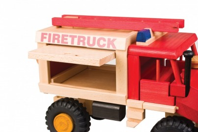 Wooden Fire truck side door up position