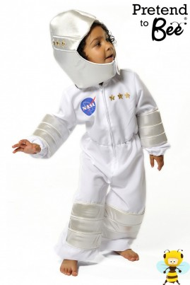 One Small step for man, One Giant Leap for Mankind...  White Astronaut Suit with separate padded helmet made in 100% Polyester, with foil padded knees and arms. Easy fit with zip-up front and elasticated cuffs. Helmet and chest trimmed with gold and silver stars and NASA print.  We Have Lift Off!!
