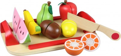 9 Piece Wooden Cutting Selection With Tray and Knife - Fruit