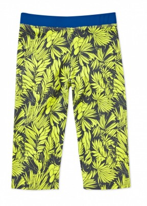 UFO yellow tropical print crop pants
