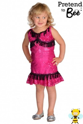 Sequined dress trimmed with black fringing and pink beaded motif on the bodice. Dress has ruched side panels and swirl skirt at hem.