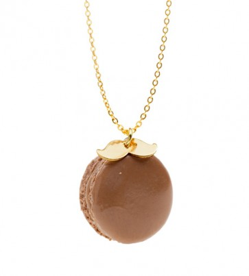 Chocolate Gold Plated Moustache Macaroon Necklace