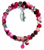 Pink Striped Agate mummy bracelet