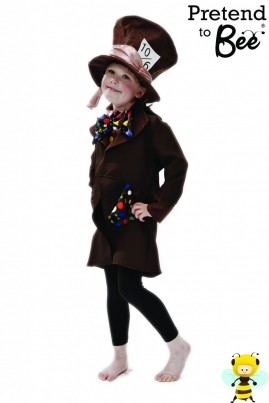 For the Crazy-est Tea Party ever...   Brown Bi-stretch jacket with mock suede collar and cuffs.   Satin spotted handkerchief and spot bib front with bow tie, fastening with velcro at back neck.   Large mock suede hat with brim, satin tie and printed 10/6 badge.