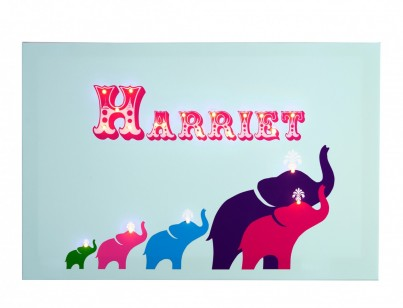 Elephants - Blue Personalised Illuminated Canvas Night Light