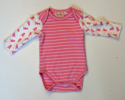 Pink Stripy Baby Body with Teddy Pattern Long Sleeves