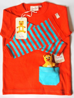 Long Sleeved Girls T-Shirt with Teddy in a Pocket plus matching Cotton Bag