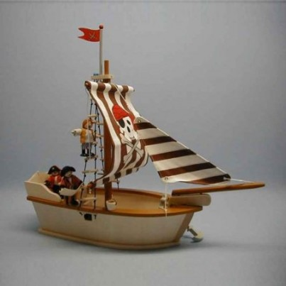 Wooden Pirate Ship With Pirate Characters