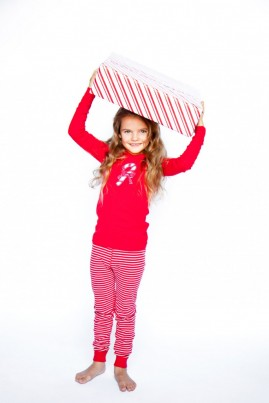Girls Organic Cotton Candy Cane Pyjamas