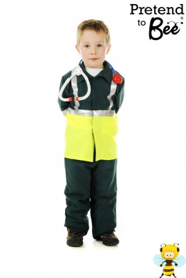 "A realistic costume includes velcro-fastened jacket and elasticated trouser with bright Day-Glo panels, reflective silver tape and ""PARAMEDIC"" lettering on the back"