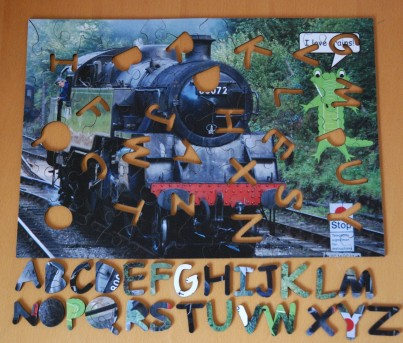 Train Wooden Jigsaw with Alphabet Whimsy Pieces