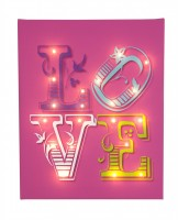 Love Bright pink - Illuminated Canvas Night Light