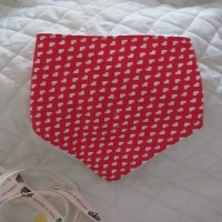 Love hearts bandana bib for babies and toddlers red and white polka dot
