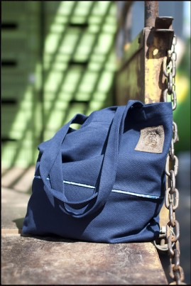 COTTON SHOPPING BAG NAVY BLUE