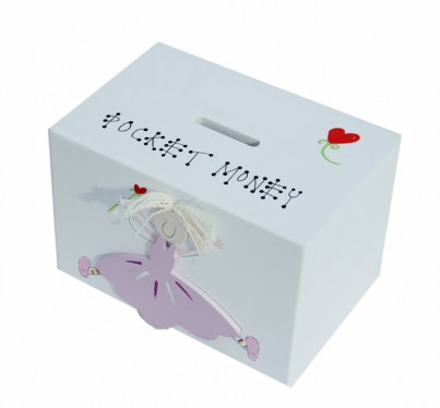 PINK FAIRY WOODEN MONEY BOX