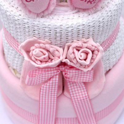 Luxury 2 Tier Baby Boy or Girl Teddy Nappy Cake