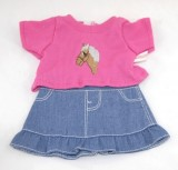 Denim Skirt with Pink Horse Top