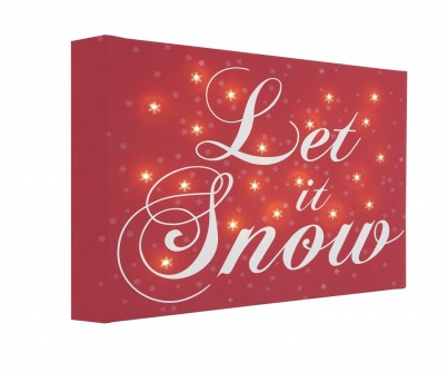 Let It Snow - Red Background - Illuminated Canvas Night Light
