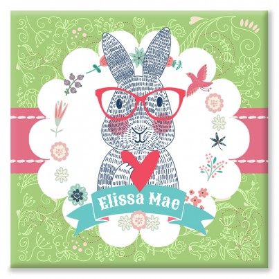 Spectacled Rabbit Personalised Canvas