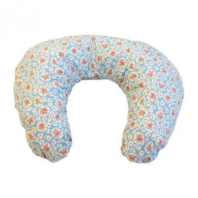 Multi Purpose Nursery & Feeding Cushion - APRIL COTTAGE Blue / Pink floral design - vintage & retro