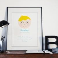 Happy Face Personalised Print (Boy)