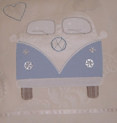 VW Wedding Themed Cushion with Embroidery Blue