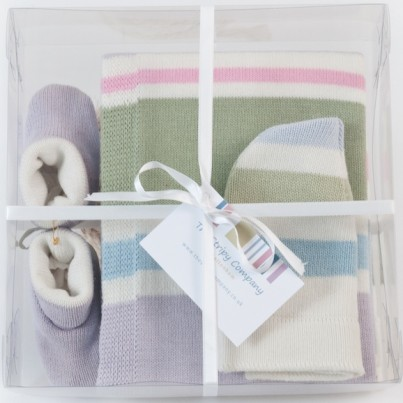 Striped Montpellier Blanket shown in our Gift Box (see Gift Boxes)