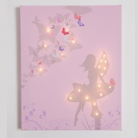 Fairy on Pink background Illuminated Canvas Night Light