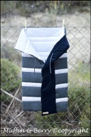 NATURAL LINEN SLEEPING BAG BLUE