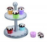 Wooden Cake Stand, Six Cupcakes With Interchangeable Toppings