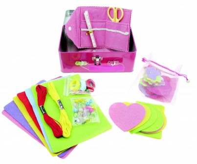 Childrens Sewing Starter Kit, 100+ Pieces to Make Hair Accessories, Cakes and More