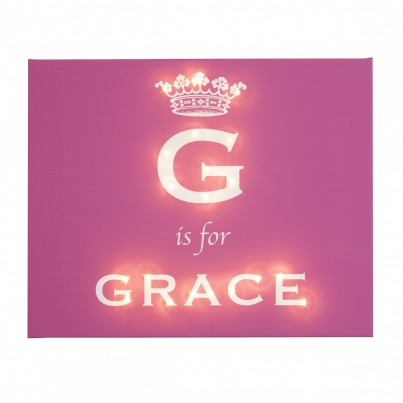 Royal Darling - Girls Crown Personalised Illuminated Canvas Night Light