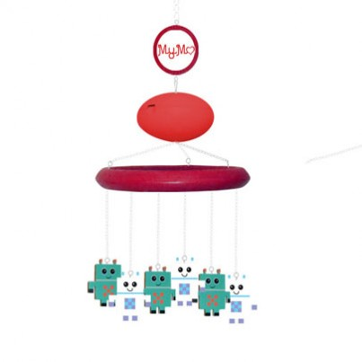 "MyMo (Robot theme) with MP3 player and voice recording/ turning unit  MyMo is a fully customisable cot mobile, designed in Britain. In short, it takes the 'traditional' cot mobile, and makes it better quality, safer, better for learning and development, longer lasting and recyclable. Here's how:  Safety  MyMo hangs from the ceiling with an adjustable chain length – which means: •The parent is constantly in control of the proximity of the mobile to their baby •Curious hands won't be able to play with the arm or pull the mobile on top of themselves •The mobile can stay in the room with your baby even when they can stand or when the cot has left •When it is hung out of reach of your baby, you'll have the peace of mind that your baby is safe  The Hanging Pieces  This mobile is one of our favourite combinations and is great for baby boys.  The ""robot"" theme characters include: • Bluey green robot (X 3) • White robot (X3)  Your Music, Your Voice (MP3 Player/Voice Recorder & Mobile Turner)  MyMo's unique MP3 player, turner and voice recorder is the jewel in the crown of MyMo. It has its own design patent and enables your MyMo to do things that no other mobile has ever dreamt of doing: •Upload your own songs – no tacky, tinny repetitive tunes! •Record your voice to play to your baby – they can hear you singing, reading a book or just saying ""I love you"" even when you're not in the room •Its rotation function circulates the mobile when and if you want it to •It has four sleep functions, meaning that you can programme it to turn itself off after 5, 10, 15 or 20 minutes.   Baby & Infant Development  MyMo has taken qualified research regarding the cognitive development of babies and infants, to design a baby mobile that maximises the learning and development potential for them. Not only is it adorably designed, but its design and adaptability allows the mobile to be modified in conjunction with your baby's development.  According to Educational & Developmental Psychologist, Anita Doyle (BA, MA, M. Psych (Ed &Dev), MAPS), newborns like to look at brightly coloured, simple abstract pictures. By the time they are just a few months old they recognise faces and can even recognise photos of their mother. For these reasons, all of the hanging characters are brightly coloured and have individual faces. Additionally, the photo frame which comes with the mobile means parents can regularly change photographs and/or images to suit their infant's developmental stage. Furthermore, if parents prefer, photo frames can be chosen in lieu of characters, so many photographs of loved ones can be displayed for your baby via the mobile.  It has also been proven that from the time they are born, babies not only recognise, but prefer the sound of their mother's voice, and can even recognise the sound of their own name by the time they are six months old. Furthermore, when settling crying babies, continuous rhythmic sounds have been proven to be most effective.   MyMo's voice recorder/MP3 player allows parents to record – and then play back – their own voices for their baby to listen to. This is especially valuable for working parents, who might not get to spend as much time with their babies as they would ideally like to. Alternatively, favoured music and soothing tunes can be uploaded easily as MP3 files.  Adaptability  If you decide to have baby number two, you can detach the characters/photo frames from baby number 1's circle and turn it into a long hanging garland (using small pieces of the chain which can easily be cut using the pliers included in all mobile kits) so they keep their hanging pieces for as long as they want them…   THEN you can choose new characters to suit the personality and gender of baby number 2! (Watch the video to see how easy it is to reuse and transform your MyMo)  The Perfect Gift  Every MyMo comes beautifully packaged to instantly create a special and unique experience for the end recipient. We take pride in always providing a high quality and unique product for parents and babies."