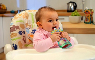 Kids love eating from the pouch from 6 months onwards
