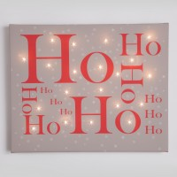 Ho ho ho Taupe  Illuminated Canvas Night Light