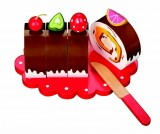 Wooden Chocolate Swiss Roll / Cake with Pretty Plate and Play Knife