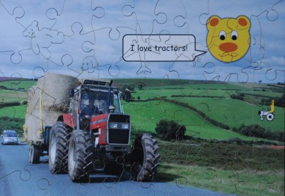 Tractor Wooden Jigsaw with Whimsy Pieces for under 5yrs