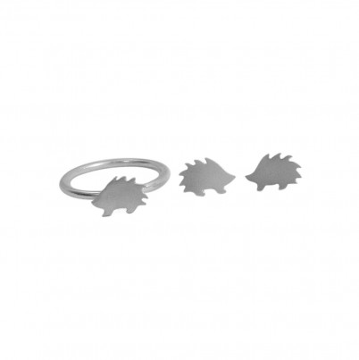 Childrens Silver Hedgehog Ring and Stud Earrings Set