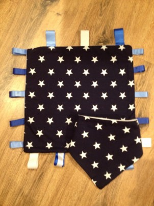 Navy blue star comfort taggie with matching bib